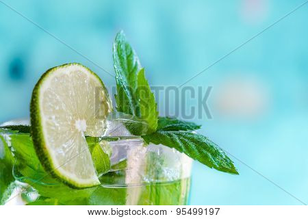 cocktail mojito with mint and white rum