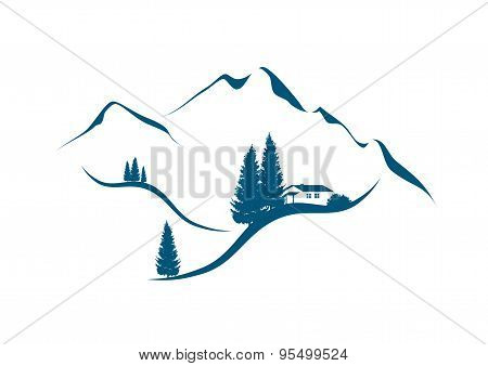 mountain landscape with chalet and firs