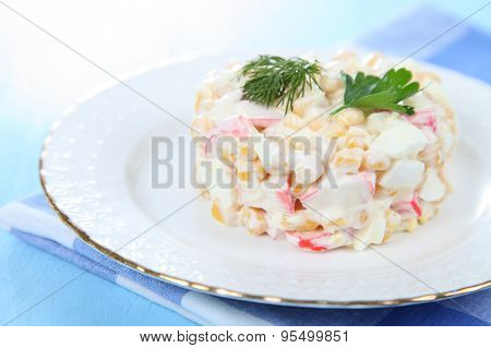 Salad From Crab Sticks With Corn