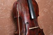 picture of cello  - Cello on brown wall background - JPG