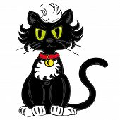 foto of black cat  - Illustration of a funny black cat with a red collar bell - JPG
