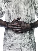 pic of doughy  - Man in dirty shirt isolated on white background - JPG