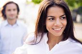 picture of pov  - Smiling young woman holding man - JPG