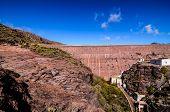 image of dam  - Artificial Lake Water Dam in the Canary Islands Gran Canaria - JPG