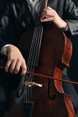 picture of cello  - Man playing on cello close up - JPG