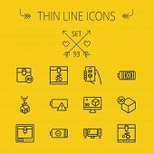 pic of tv sets  - Technology thin line icon set for web and mobile - JPG