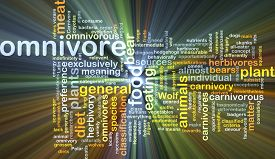 pic of omnivore  - Background concept wordcloud illustration of omnivore glowing light - JPG