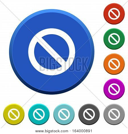 Blocked round color beveled buttons with smooth surfaces and flat white icons