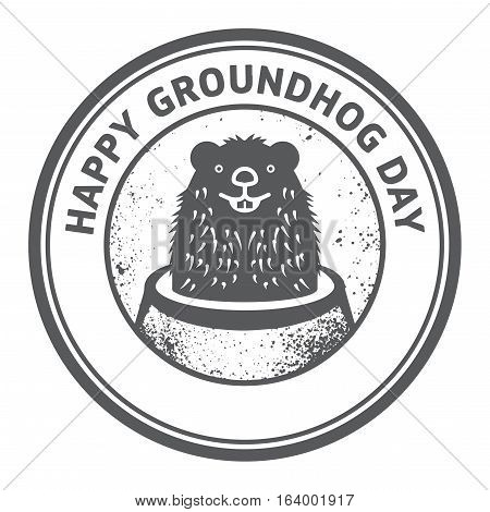 Grunge rubber stamp or sign with cute groundhog and text Happy Groundhog Day vector illustration