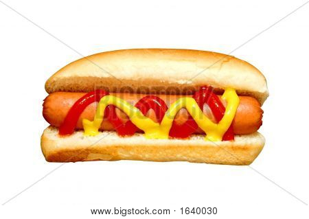 Hot Dog With Ketchup And Mustard