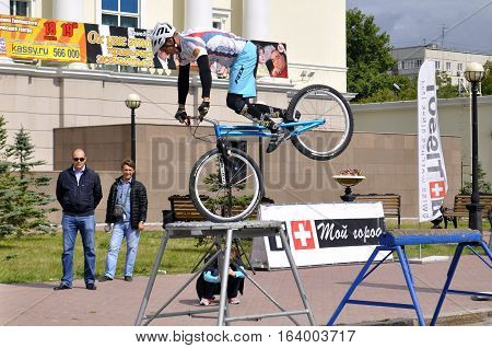 Mikhail Sukhanov performance champions of Russia on a cycle trial. City Day of Tyumen, Russia on July 26, 2016