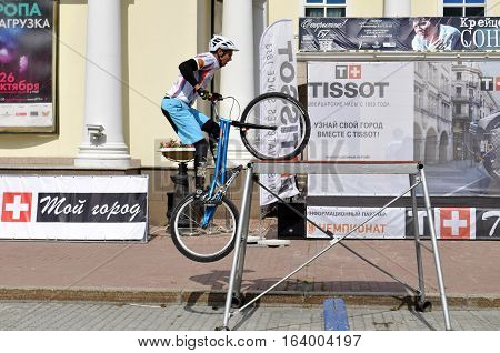 Mikhail Sukhanov performance champions of Russia on a cycle trial. City Day of Tyumen, Russia on July 26 2016