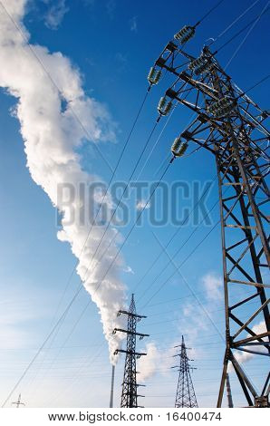 Electric power station with smokestacks