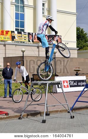 Timur Ibragimov and Mikhail Sukhanov's performance champions of Russia on a cycle trial. City Day of Tyumen, Russia on July 26 2016