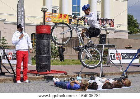 Timur Ibragimov performance champions of Russia on a cycle trial. City Day of Tyumen, Russia on July 26 2016