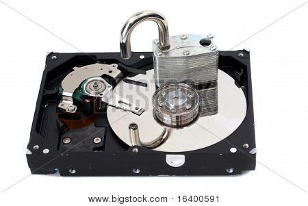 Unlocked Padlock on a Hard Disk Drive