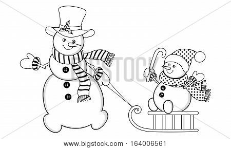 Vector black and white Christmas snowmen with sledge and candy stick