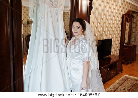 Cute Brunette Bride On Silk Robe With Wedding Dress On Hands.