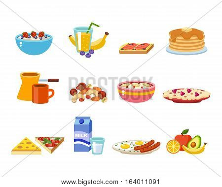 Healthy nutrition, proteins fats carbohydrates breakfast balanced diet, cooking, culinary and food concept vector. Morning natural vegetarian energy balance.