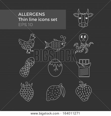 Allergens thin line icons set on black background. Vector illustration of food ingridients, that may cause allergy.