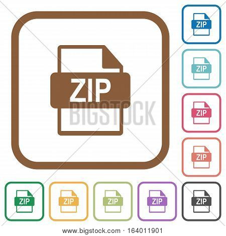 ZIP file format simple icons in color rounded square frames on white background