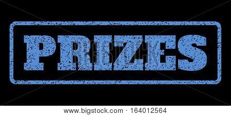 Blue rubber seal stamp with Prizes text. Vector message inside rounded rectangular shape. Grunge design and dirty texture for watermark labels. Horisontal sign on a black background.
