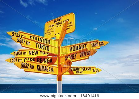Signpost in the Stirling Point, Bluff, New Zealand.  Most southern mainland point of New Zealand