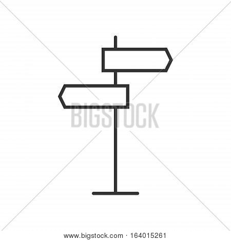 Signpost icon or logo line art style. Vector Illustration.