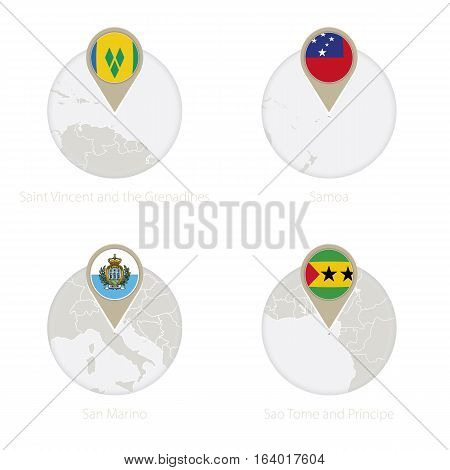Saint Vincent And The Grenadines, Samoa, San Marino, Sao Tome And Principe Map And Flag In Circle.