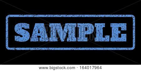 Blue rubber seal stamp with Sample text. Vector message inside rounded rectangular frame. Grunge design and unclean texture for watermark labels. Horisontal sign on a black background.