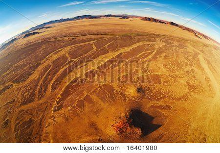 Namib Desert, aerial view, fisheye shot