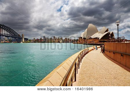 SYDNEY - DECEMBER 10: Sydney Opera House and Harbour Bridge on December 10, 2008 in Sydney, Australia. The Opera House is Unesco World Heritage Site and one of the world's famous landmarks