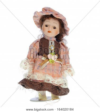 Cute porcelain doll , isolated on white background