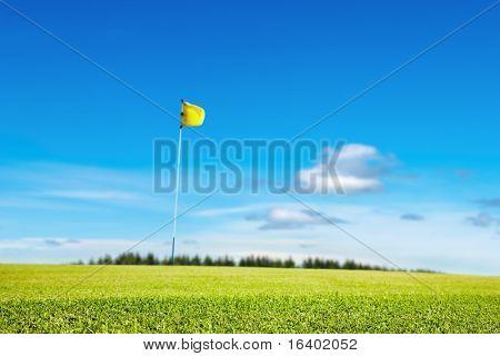 Golfplatz, Fokus auf dem Rasen, geringe Schärfentiefe