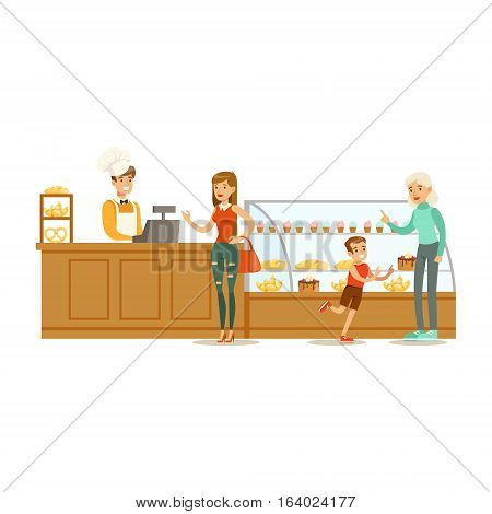 Clients Choosing And Buying Pastry At The Cashier Of The Bakery Shop Vector Illustration. Happy Cartoon Character At The Cafe Flat Drawing From Coffee And Pastry Shop Series.