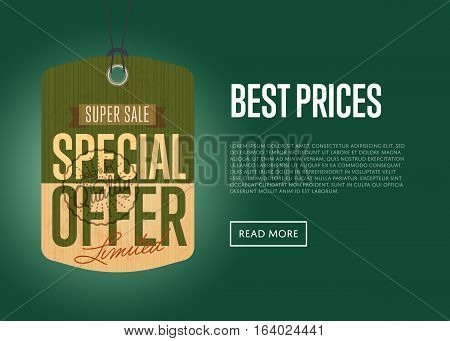 Special offer sale sticker isolated vector illustration. Best prices banner, exclusive offer discount, super sale tag, advertisement retail label, special shopping symbol. Vintage style offer sign