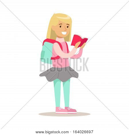Girl With Backpack Who Loves To Read Illustrations With Kid Enjoying Reading An Open Book. Teenager Bookworm Cartoon Vector Character Smiling And Enjoying His Pastime And Hobby.