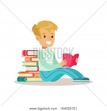 Boy Sitting With His Back Against Pile Of Books Who Loves To Read, Illustration With Kid Enjoying Reading An Open Book. Teenager Bookworm Cartoon Vector Character Smiling And Enjoying His Pastime And Hobby.