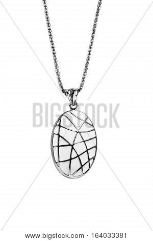 White enamelled medallion on a chain isolated over white