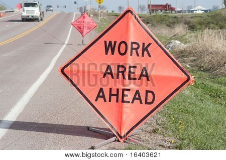 Roadside Work Ahead Signs
