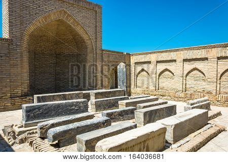 Burial In The Necropolis Of Chor-bakr, Summer Sunny Day In Bukhara.