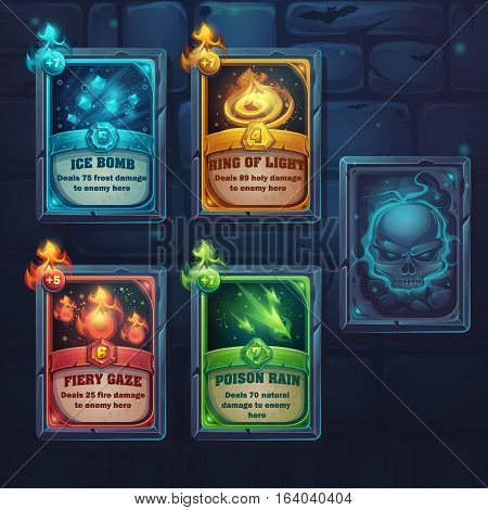 Set spell cards of fiery gaze poison rain ice bomb ring of light. For web video games user interface design