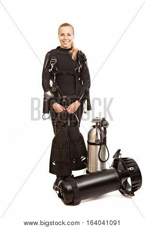 Studio shooting models with equipment oxygen cylinders and Diver Propulsion Vehicle. Isolated on white background.