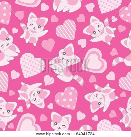Seamless background of Valentine's day illustration with cute pink cat and love shape on pink background suitable for Valentine's wallpaper, scrap paper, and postcard