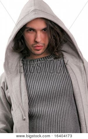 Portrait young men dressed in modern clothes with a hood