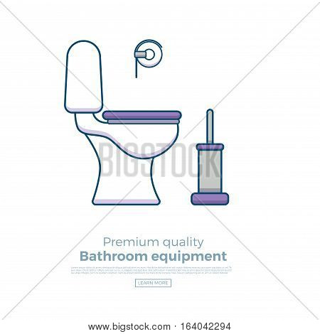 Toilet vector illustration with bowl, paper, bowl for web sites, bathroom equipment shops or interior designs