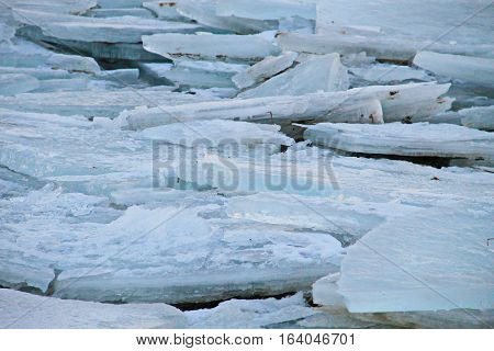 Ice floes on the river. Ice background