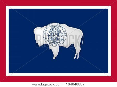 US State Background: 3d illustration of Wyoming Flag