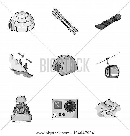 Ski resort set icons in monochrome style. Big collection of ski resort vector symbol stock