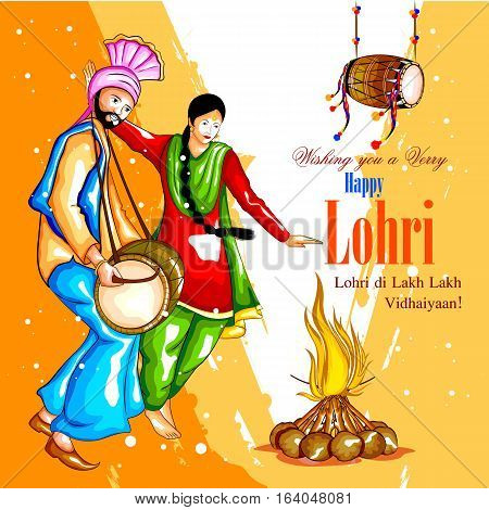 easy to edit vector illustration on festival of Punjab India background with punjabi message Lohri ki lakh lakh vadhaiyan meaning Happy wishes for Lohri